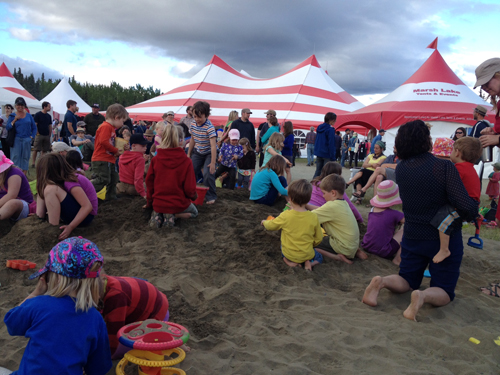 The sandblox at the Atlin Music Festival was the same size as last year, but it seems this year it was the main hot spot occupying young children of toddlers on up to 10 years old