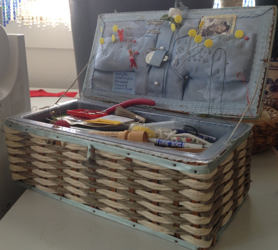 My 50-year-old antique sewing basket was given to me for my 9th birthday from my Mother, Irene Lampe