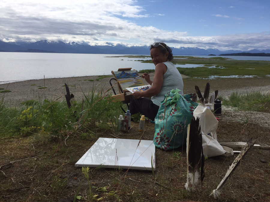 Clarissa Rizal paints on location at Eagle Beach, Juneau, Alaska during Dominik Modlinski's plein rein class