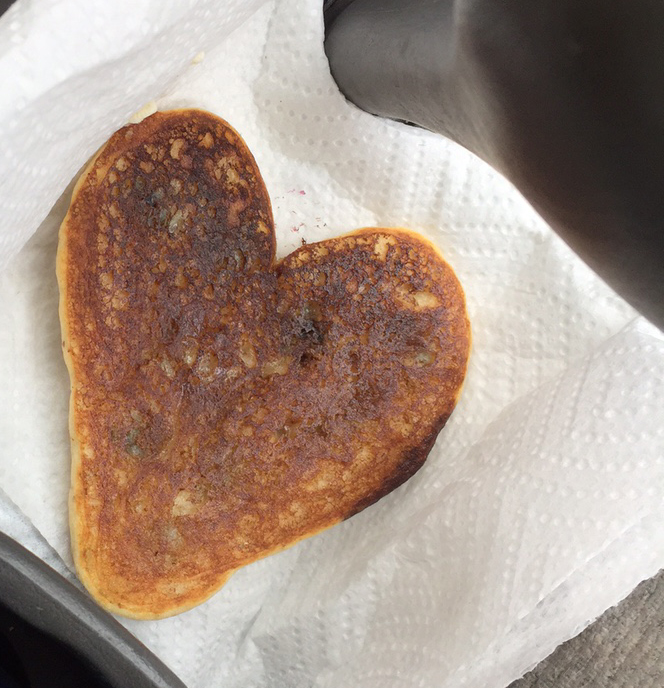 Grand-daughter Amelie made a pancake to eat while on my way to the airport