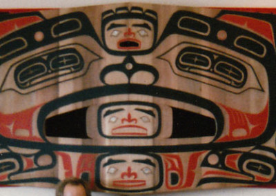 """Shaman With Spirit Guides"" Button blanket and carved wall muralCollection of Southeast Alaska Regional Health Consortium (SEARHC) Juneau, AK  ©1987 Clarissa Rizal - Photo by Rizal"