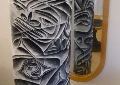"""Totemic Theory"" Charcoal on canvas stretched across curved masonite board; 74""h x 28""w column, Artists' Collection ©2012 Clarissa Rizal"