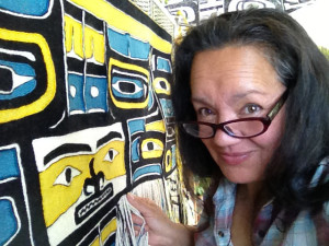 "Clarissa Rizal weaves ""Diving Whale"" Chilkat robe - May 2013"