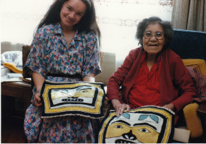 Clarissa and Jennie Thlunaut with their finished pair of leggings during the apprenticeship, Juneau, AK May 1986