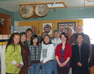 Chilkat Weaving Retreat participants sponsored by Silver Cloud Art Center, Artstream Alaska and the New England Foundation for the Arts - April 2009