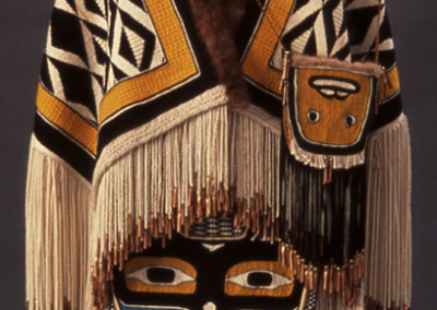 """""""Copper Woman"""" 5-piece Chilkat & Ravenstail weaving ensemble includes robe, capelet, apron, headdress & pouch, Collection of Anchorage Museum of History & Art, Anchorage, AK ©2002 Clarissa Rizal"""