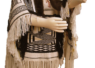"""""""Copper Child"""" Ravenstail weaving ensemble in collaboration with Lily Hope (robe, headdress, apron) and Clarissa Rizal (tunic), Collection of Sealaska Heritage Institute, Juneau, AK © Lily Hope & Clarissa Rizal -- Photo by Rizal"""