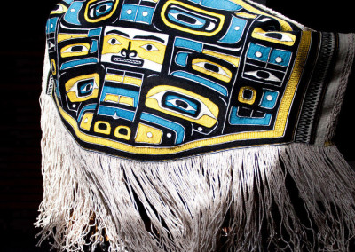 """""""Diving Whale Lovebirds"""" Chilkat weaving robe, Private Collection New York ©2013 Clarissa Rizal -- Photo by Ken Kaushansky"""