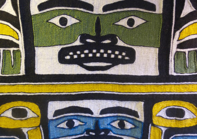"""""""Jennie Weaves An Apprentice"""" Chilkat weaving robe close-up, Private Collection, Los Angelos, CA  ©2011 Clarissa Rizal -- Photo by Rizal"""
